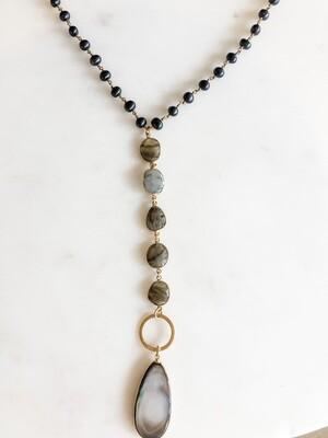 TD340 Black Pearl Drop Pendant w/Labradorite and Black Pearls