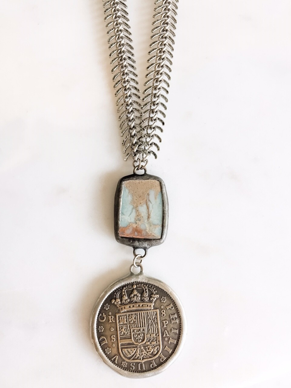 TD392 Coin Pendant w/African Opal On Fish Bone