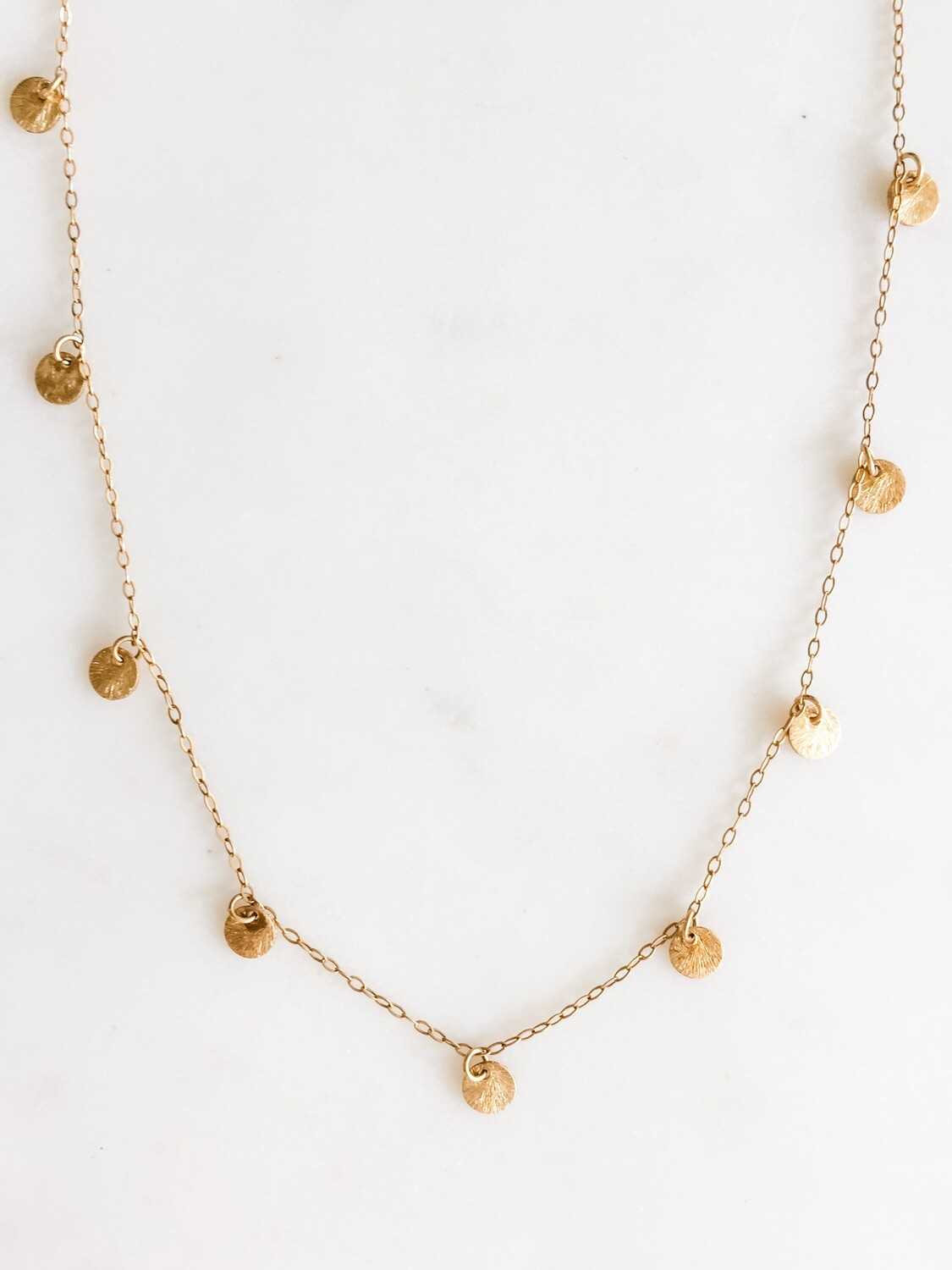 TD372 Gold Dot Chain Necklace 16""