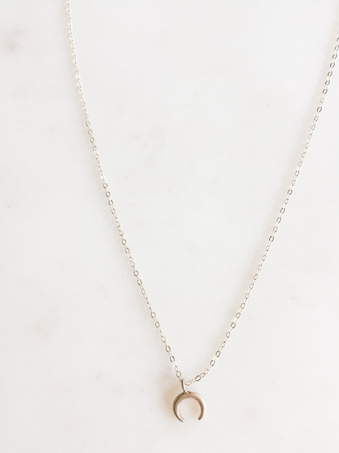 """TD420 Silver Chain Necklace w/Crescent Moon Charm - 16"""""""