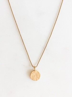TD411 Gold Chain Necklace w/Gold Circle Charm - 16