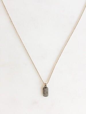 TD421 Silver Chain Necklace w/Diamond Charm - 18