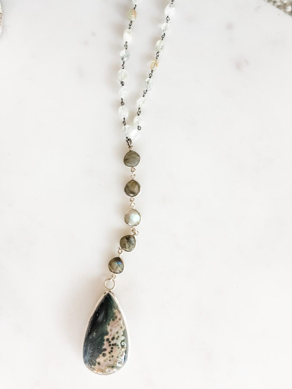 TD451 Aquamarine, Labradorite & Jasper Necklace