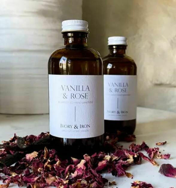 IR003 Organic Hand Sanitizer 4 oz Vanilla and Rose in Glass Bottle