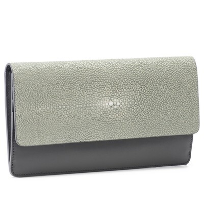 Pale Grey Shagreen and Pewter Leather Clutch
