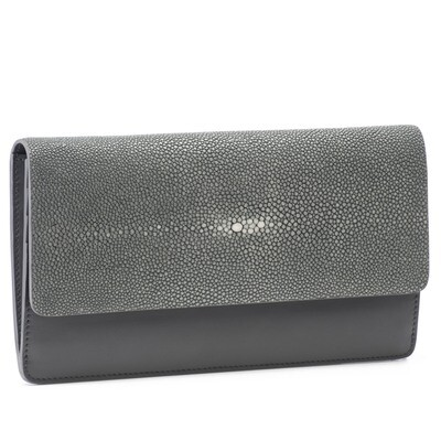 Grey Shagreen and Cinder Leather Clutch