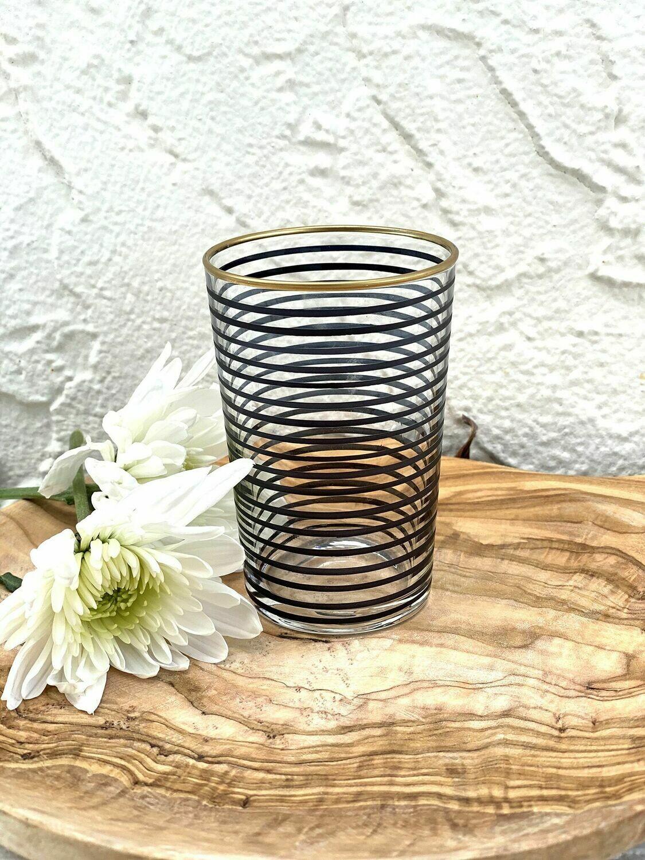 SL050 Tea Glass - Striped - Black