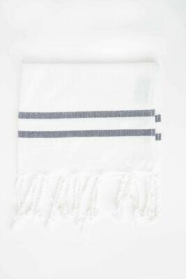 SL011 Guest Towel Herringbone White w/Black Stripes