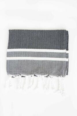 SL013 Herringbone Guest Towel Black w/White Stripes