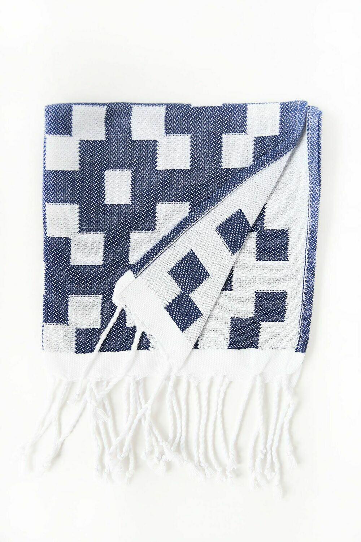 SL151 Guest Towel Hamptons  Navy/White