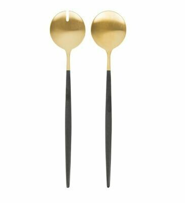CO027 Matte Gold/Black Handle Salad Serving Set