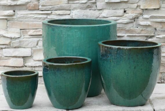 AE031 XXL Teal Glazed Planter