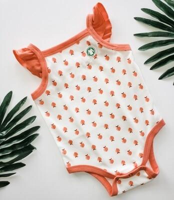 Peach Ruffle Sleeve Onsie