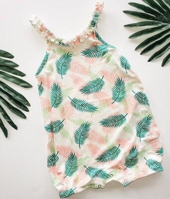 Pink and Green Palm Leaf  Romper