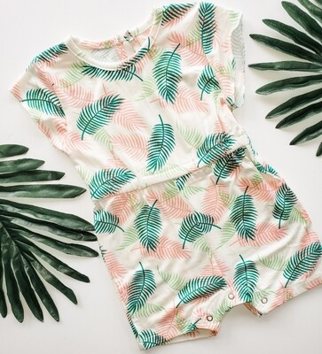 Pink and Green Palm Leaf Short Sleeve Romper