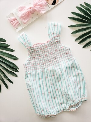 Turquoise and Pink Fish Romper