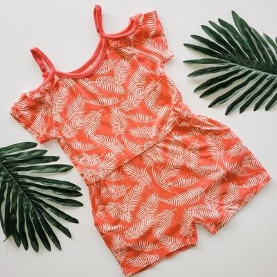 Silkberry Coral Palm Leaf Cold Shoulder Romper