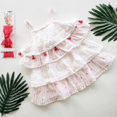 Hatley White and Pink Ruffle Dress