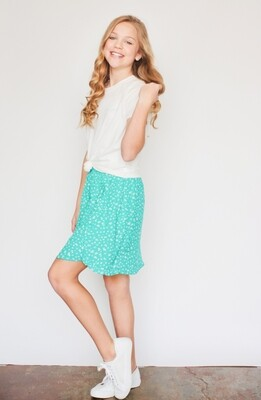 Sadie and Sage Green Ruffle Mini Skirt