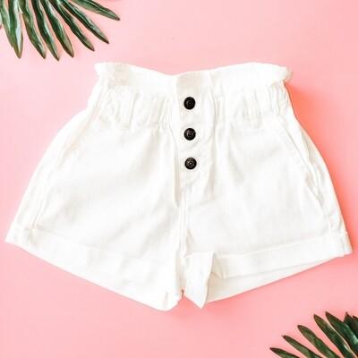 Sadie and Sage White Potato Sack Shorts