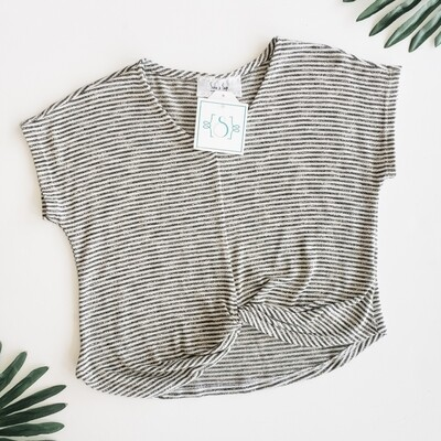 Sadie and Sage Charcoal Tie Front Top