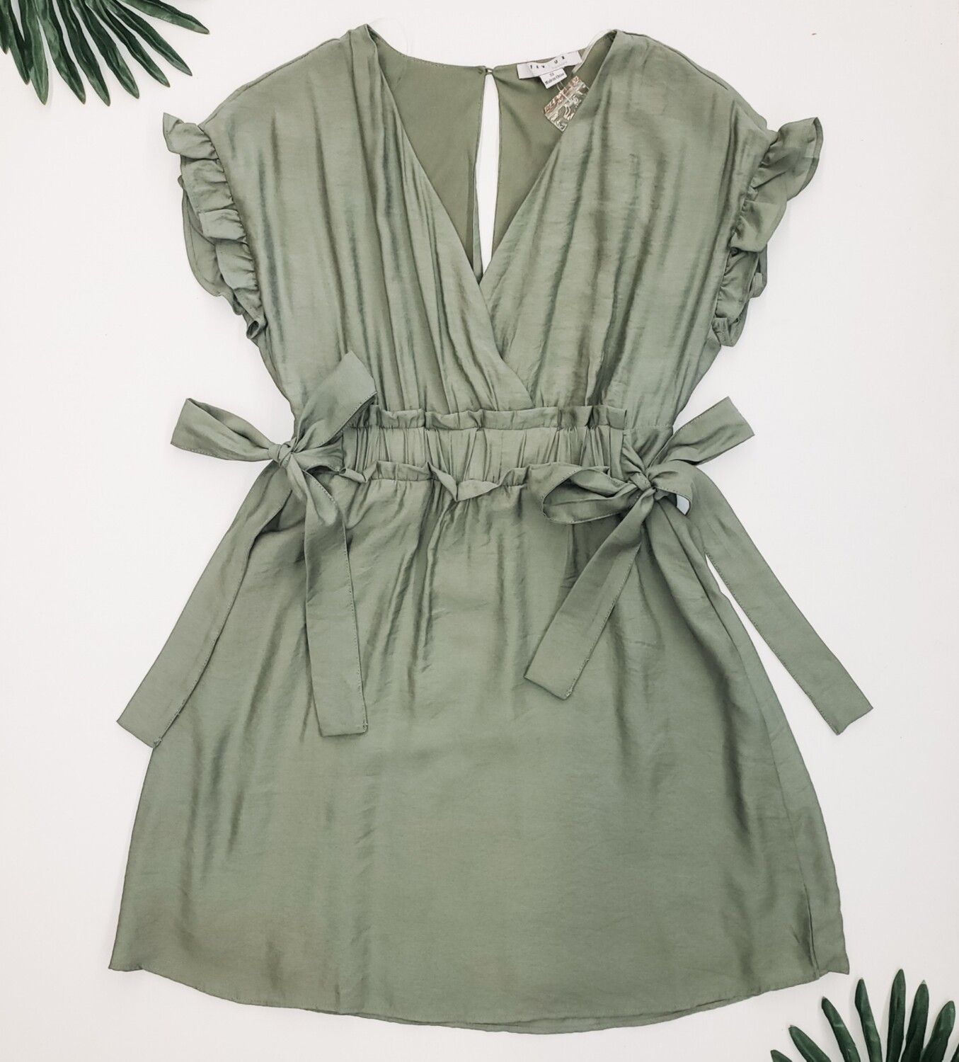 Sage Green Side Tie Dress