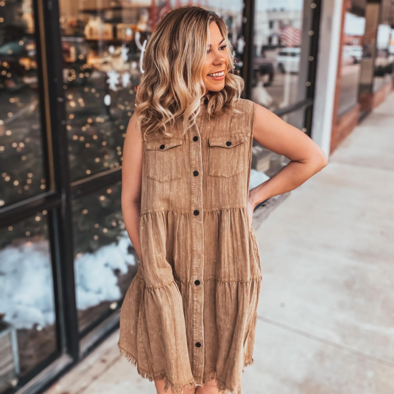 Umgee Camel Tiered Dress
