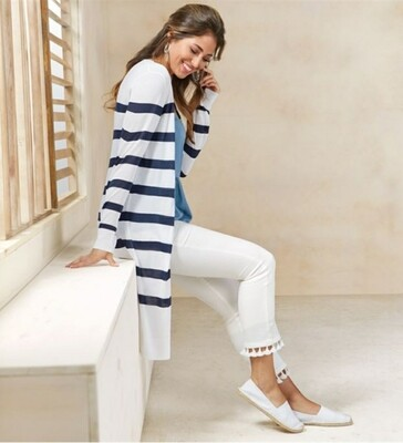 Mudpie Bau Striped Duster Cardigan in Navy and White
