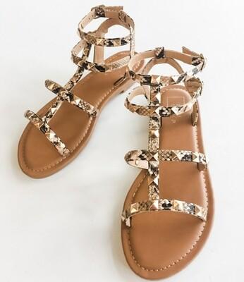 Shu Shop Snake Skin Studded Sandal