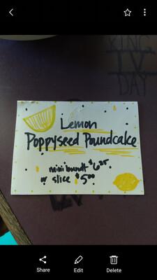 Lemon Poppyseed Poundcake Slices, gluten free