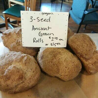 Three Seed Ancient Grain Rolls 6pk, vegan gluten free