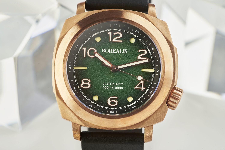 Borealis Navale CuSn8 Bronze 300m Diver Watch Miyota 9015 Fumed Green Version FF Fixed Bezel