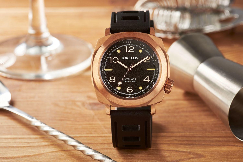 Borealis Navale CuSn8 Bronze 300m Diver Watch Miyota 9015 Black Version BF Fixed Bezel
