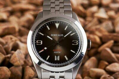 Borealis Adraga Stainless Steel Miyota 9015 fumed brown dial Commando Hands Date BGW9 Lume