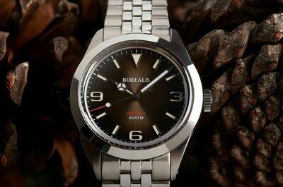 Borealis Adraga Stainless Steel Miyota 90S5 fumed brown dial Mercedes Hands No Date BGW9 lume