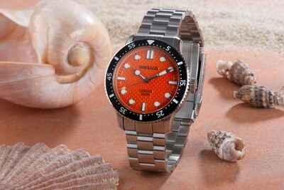 Borealis Cascais V2 Version BE Orange Portuguese Cobblestone Dial Cathedral Hands No Date