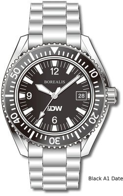 Pre-Order Borealis Estoril 300 for Diver's Watches Facebook Group Black Dial Arabic Numbers Date Black A1 Date