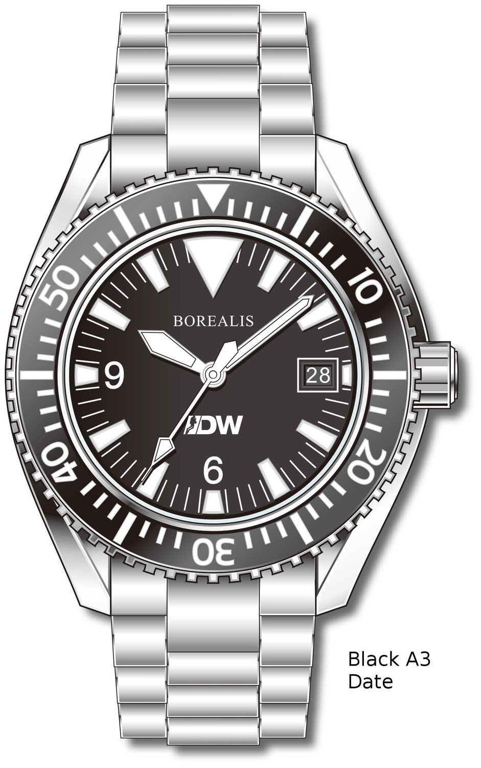 Pre-Order Borealis Estoril 300 for Diver's Watches Facebook Group Black Dial Big Triangle Date Black A3