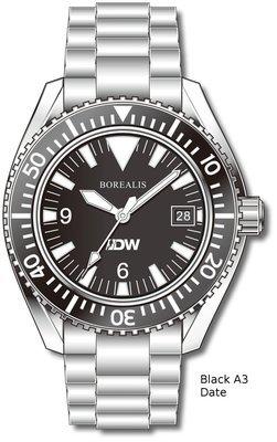 Pre-Order Borealis Estoril 300 for Diver's Watches Facebook Group Black Dial Big Triangle Date Black A3