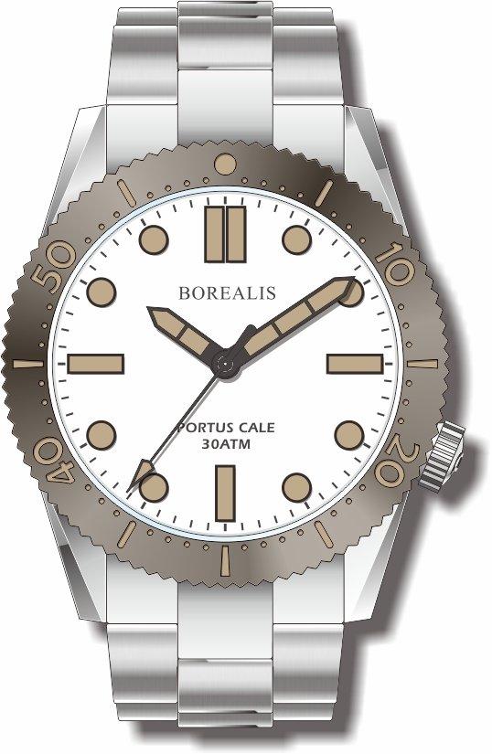 Pre-Order Borealis Portus Cale White Version C1 Dial Old Radium X1 No Date