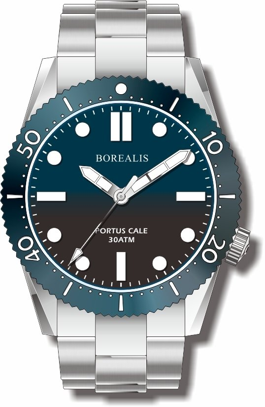 Pre-Order Borealis Portus Cale Blue Fade to Black Version A1 Dial SLWL No Date