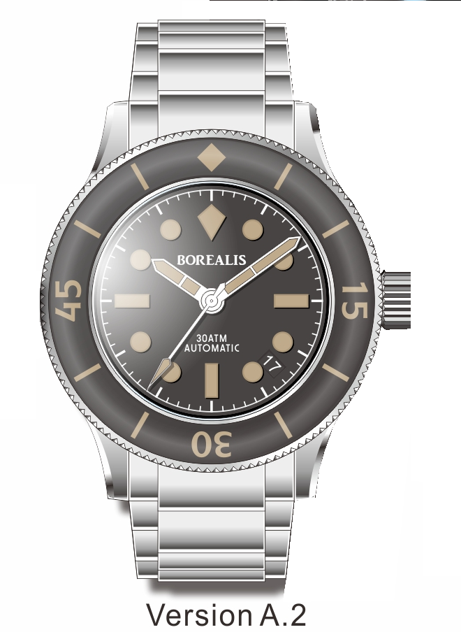 Pre-Order Borealis Sea Storm V2 Black Dial Version A.A2 Date Old Radium Lume