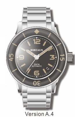 Pre-Order Borealis Sea Storm V2 Black Dial Version A.A4 Date Old Radium Lume