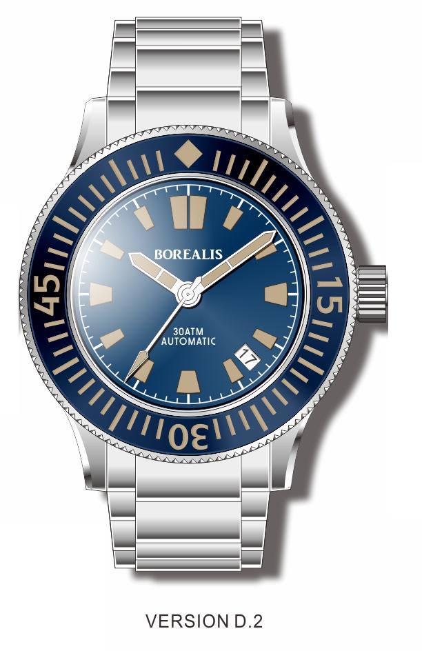 Pre-Order Borealis Sea Storm V2 Blue Dial Version B.D2 Date Old Radium Lume