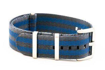 Premium Nato style seatbelt nylon strap 22mm size two tone black blue