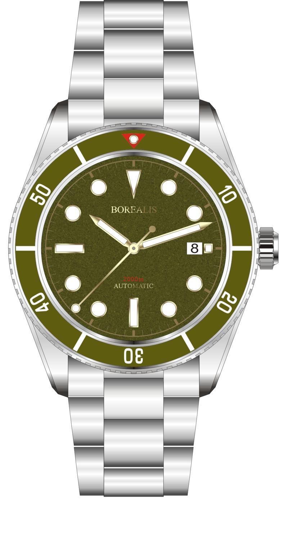 Borealis Bull Shark Automatic Diver Watch Date Miyota 9015 Ceramic Green Bezel Green Dial