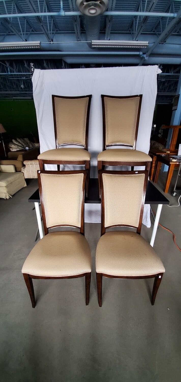 Set of 4 Upholstered Wooden Chairs