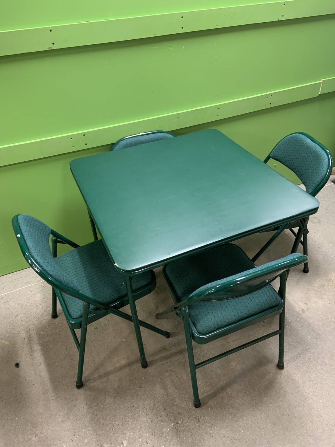 5 Piece Green Folding Game Room Card Table and Chair Set