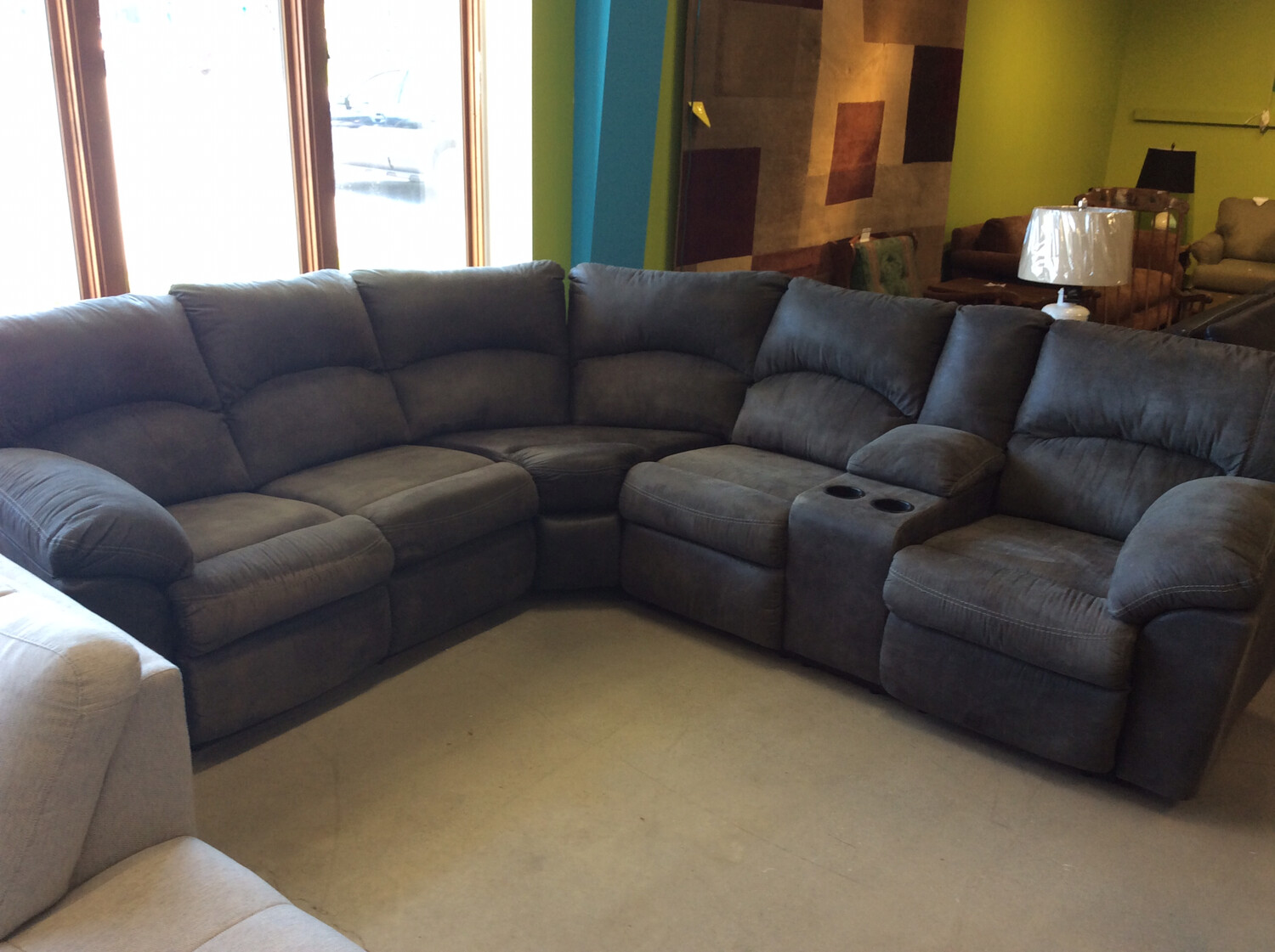 Grey Double Recliner Sectional