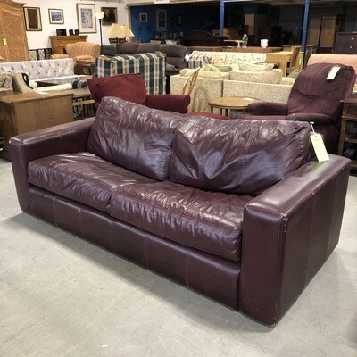 Maroon Leather Sofabed